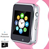 Smart Watch, Smartwatch Phone with SD Card Camera Pedometer Text Call Notification SIM