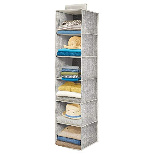 mDesign Organizador de armario colgante de fibra sintética – Práctico colgador de armario con seis estantes de tela para el dormitorio – Con múltiples usos, ideal para organizar armarios – negro