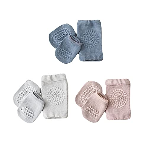Sendley Baby Krabbeln 3 Paar Baby Knieschoner und 3 Paar Baby Socken mit Gummipunkte Anti-rutsch für Baby Krabbelschoner Krabbelhilfe Knieschützer 1-3 Y (Blau Hellgrau Helles Lila)