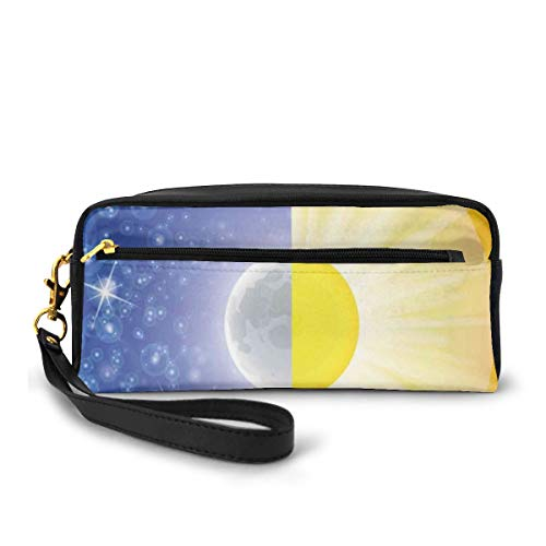Pencil Case Pen Bag Pouch Stationary,Split Design with Stars in The Sky and Sun Beams Light Solar Balance Image,Small Makeup Bag Coin Purse