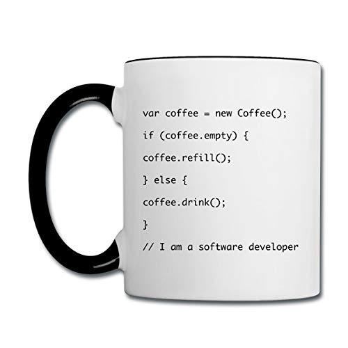 Kaffeetasse Kaffee Auffüllen Javascript Code Nerd Geschenk Tasse zweifarbig, Weiß/Schwarz