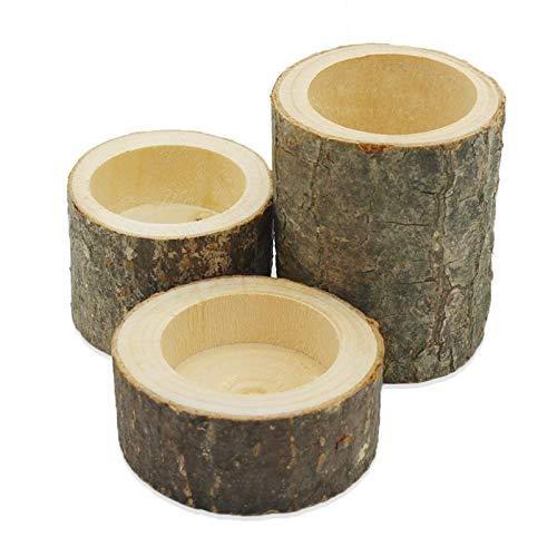 Uooker 3 PCS Baumstumpf Teelichthalter Holz Kerzenhalter Teelichter Handgefertigte Kerzenhalter für die Dekoration Rustikale Hochzeitsfeier Geburtstagsfeiertag