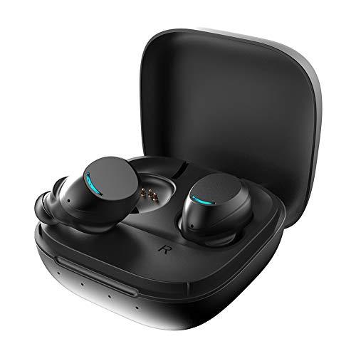Nouveau Mini Casque Bluetooth de Sport, Casque de Voiture, Facile à Transporter, Bonne qualité sonore, stéréo étanche des Deux côtés, métal, adapté à la Course/Fitness/Android-Black