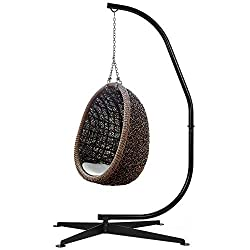 commercial Best Choice Product Metal Hammock C-Shaped Chair Stand, Weatherproof Pouch Swing… hammock chair stands