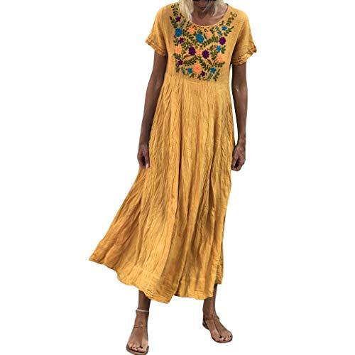Lulupi Damen Bohemian Sommerkleider Vintage Maxi Blumenkleid mit Kurzarm Ärmeln Baumwolle Leinen Lose Kleid Dress Strandkleider
