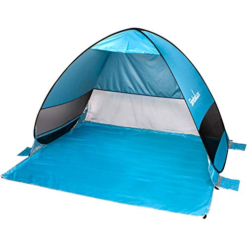 SimbaLux Pop Up Beach Tent Sun Shade Shelter Anti UV UPF 50 Instant Easy Open Popup Portable Cabana Canopy Sunshade for Park, Picnic, Kids Play, Camping, Sports | Great for Family of 4, Blue