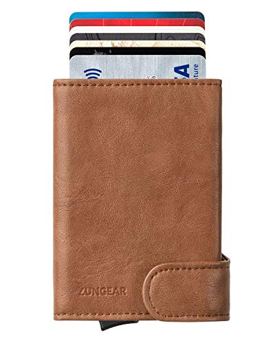 LUNGEAR Tarjetero para Tarjeta de Crédito con Bloqueo RFID, Hombre Cartera Pequeña de Cuero Automatico Pop Up para 4-8 Tarjetas & Billetes - Marrón