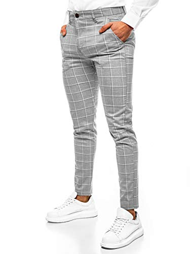 OZONEE Herren Chino Hose Chinos Stoffhose Chinohose Anzughose Anzug Herrenhose Röhrenhose Pants Elegant Business Slim Fit Regular Klassisch Classic Basic DJ/5522 GRAU W32