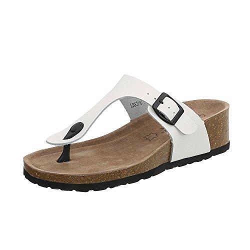 Ital-Design Zehentrenner Leder Damen-Schuhe Keilabsatz/Wedge Sandalen & Sandaletten Weiß, Gr 39, Lbs2192-