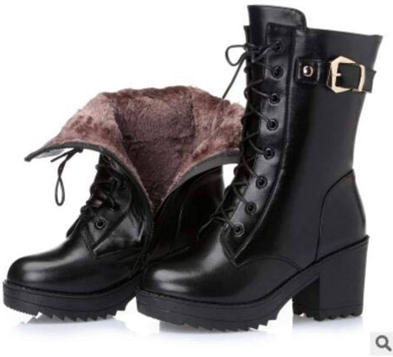 Fumak  High-Heeled Genuine Leather Women Winter Boots, Thick Wool Warm Women Martin Boots, Female Snow Boots