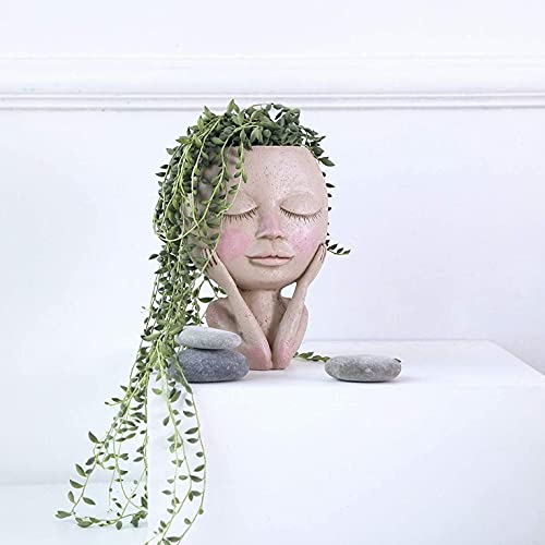 Maceta de cara humana, retrato con ojos cerrados, forma de maceta de resina, con agujero de drenaje, decoración de mesa