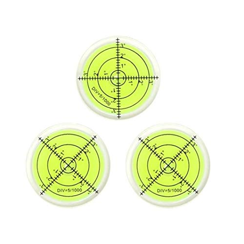 40MM 3PCS Bubble Spirit Level Circular Inclinometers Level Bubble for RV, Camper, Camera, Tripods Telescope, Turntables, Phonograph Measuring Tools(40x10mm)