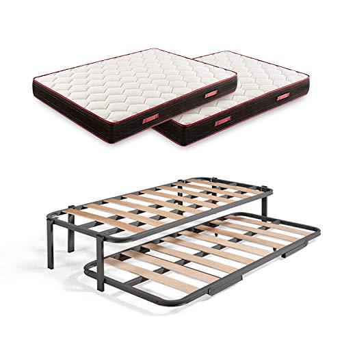 Cama Nido Metálica Reforzada con 6 Patas + 2 Colchones Viscoelásticos Memory Fresh 3D, 80x190 cm