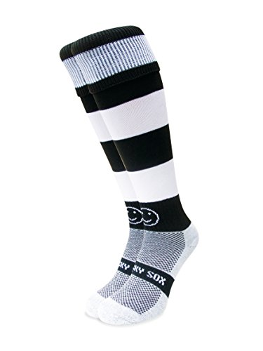 WackySox - Black and White Hoops - High-Performance Breathable Knee-High...