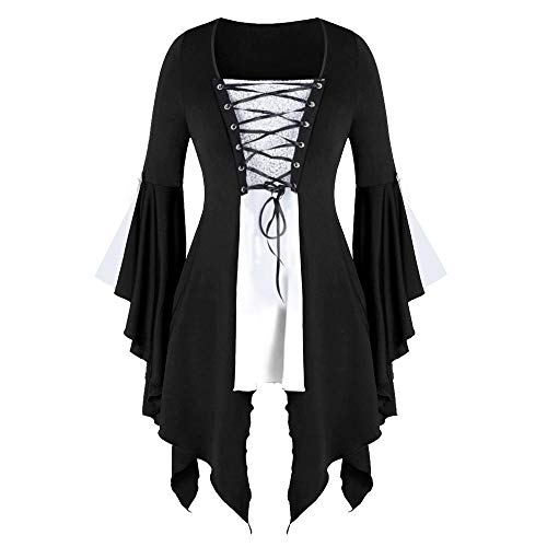 Doublehero Gothic Kleidung Damen Kleid Mittelalter Kostüm Punk Karneval Kostüm Cosplay Langarm Steampunk Minikleid Sommer Schnürung Rückenfrei Party Vintage Kleid Weihnachten (S,Weiß)