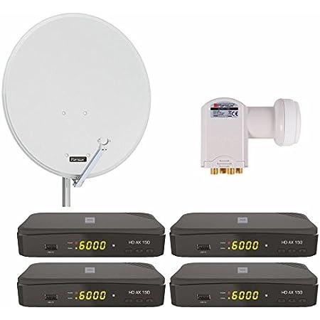 Opticum 4 Teilnehmer Satelliten Komplettanlage Elektronik