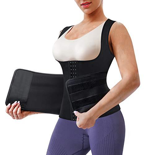 LANCS Women Waist Cincher Trainer Neoprene Sauna Sweat Suit Vest Weight Loss Tank Top Shapewear with Adjustable Belt (Black, Small)