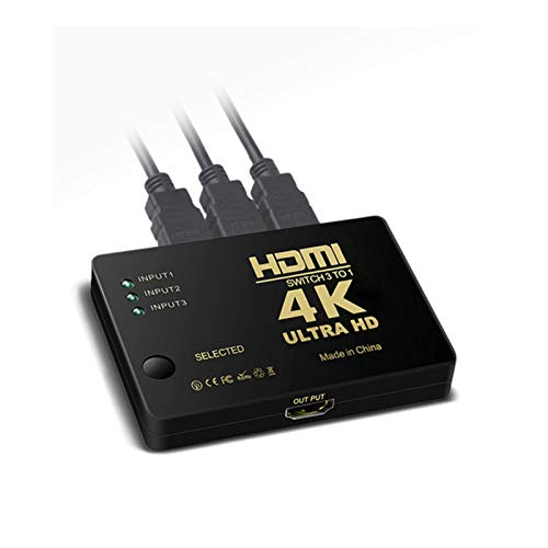 LYY 3X1 Cable HDMI Splitter, 2K 1080P Adaptador De Conmutador De Vídeo HD 4K 3 Entrada 1 Salida HDMI Puerto Hub Adecuado para Xbox PS4 HDTV DVD PC Portátil De TV