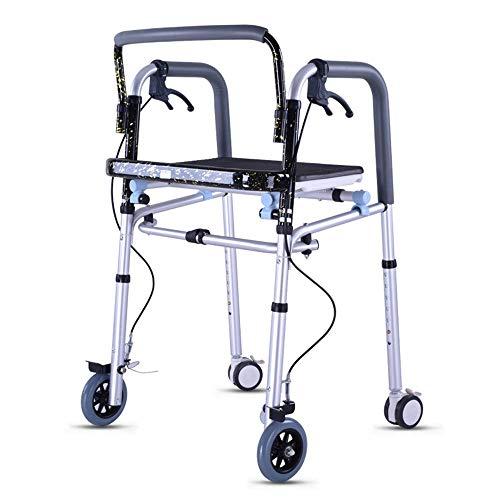 YHtech Ancianos Andador Walker con Freno de Mano con Ruedas for minusválidos Walker Andador Plegable Antideslizante bastón con el Hospital