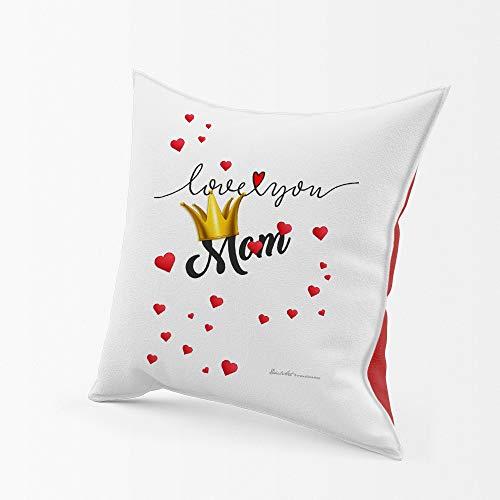 allsas Cojín bicolor blanco/rojo 40 x 40 cm Retro raso cojín personalizado con relleno Día de la Madre Love You Mom