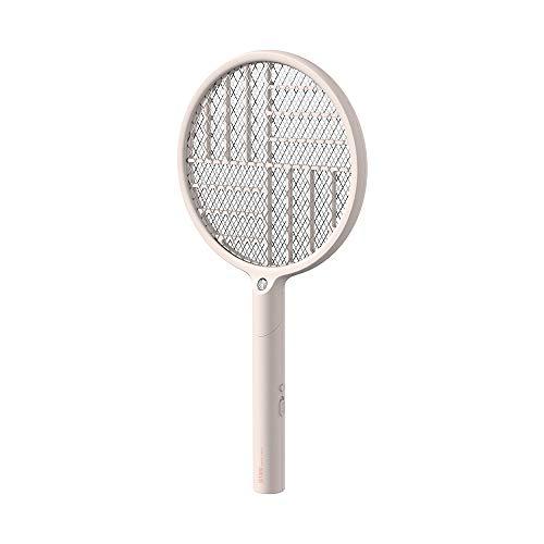 NCTCITY Elektrische Fliegenklatsche mit Klappbarem Griff Zusammenklappbare Fliegenfänger mit Led Beleuchtung DREI Schichten Mesh Schutz Moskito Insektenvernichter für Drinnen und Draußen