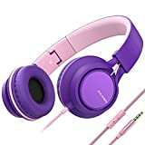 AILIHEN MS300 Wired Headphones with Microphone Folding Lightweight Headset for Cellphones Tablets Smartphones Chromebook Laptop Computer Zoom Skype Mp3/4 (Purple Pink)
