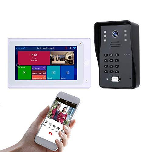 Sistema De Intercomunicación Inalámbrica De Vídeo Portero - 7' LCD Timbre Kit Con La Contraseña/Desbloqueo De Reconocimiento De Cara, Impermeable Del IP 65,Para Villa/Interior/Apartamento