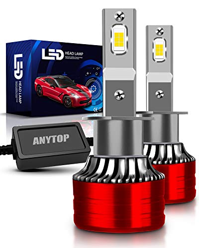 ANYTOP H1 LED Headlight Bulbs, 100W 12000LM 6000K Cool White High Beam or Fog Lights Bulbs, Super Bright XHP Chips Conversion Kit Halogen Replacement, IP68 Waterproof, Pack of 2
