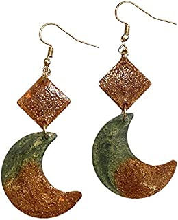 AGA Two-Tone Glittery Moon Shaped Drop Earrings for Women - Green and Brown