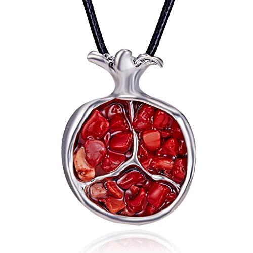 CADANIA Fruit Red Granatapfel Stein Anhänger Halskette Lange Pullover Kette Schmuck