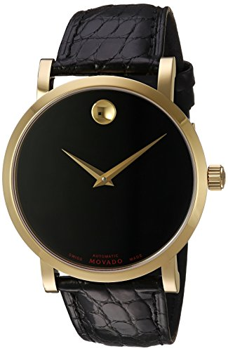 Movado Men's Swiss-Automatic Watch with Leather-Alligator Strap, Black, 22 (Model: 0607007)