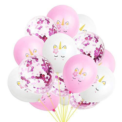 15 globos de fiesta de látex con relleno de confeti y diseño de unicornios de color rosa y dorado, 30 cm