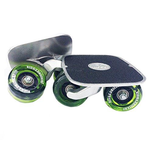 Drift Freeline Skates mit 70mm Räder und ABEC 7 Kugellager (Schwarz) (LED/Klar Grün)