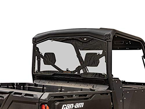 SuperATV Can-Am Defender Rear Windshield: Heavy Duty Full Back Window Shield Compatible with Can-Am Defender HD5 / HD8 / HD10 / Max Models - UTV Accessories for OEM Soft and Hard Tops - Light Tint