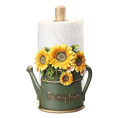 MASSJOY Paper Towel Holder with Sunflower Flower Decor, Resin Crafts Display for Kitchen Cafe Western Restaurant Cake Shop Dessert Shop.
