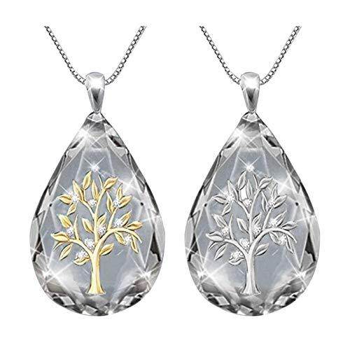 RRomaS Collar Mujer con Colgante Arbol de La Vida,Color Plata y Cristal Zirconia Cubica, con Forma de Gota,Incluye Caja para Regalos