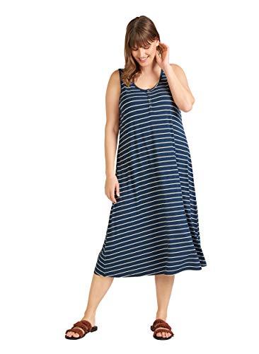Zizzi Damen Große Größen Kleid aus Viskose mit Rundhalsausschnitt -Blau-50-52