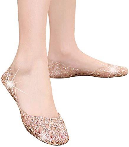 1 paar ademend glitter holle sandalen voor vrouwen, gouden,39