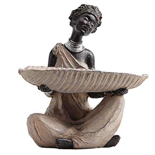 Leekung African Statue with Candle tealight Holder,African Statues and Sculptures for Home Decor,African Culture Figurines Tribal candelholder Home Decoration Antique Woodstone Color