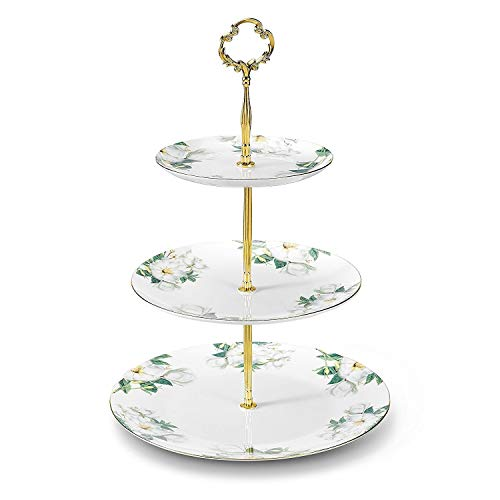 GAOFQ 3 Tier Porcelain Round Cake Plate Stand Dessert Display Cakes Platter Food Rack,White & Green,Height:14.5〃/Diameter:6〃&8〃&10〃