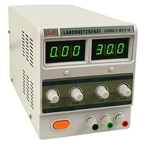Komerci Labornetzgerät Netzteil Stromversorgung Transformator regelbar Digitalanzeige 0-30V 5A 150W regelbar QJ3005E Grau