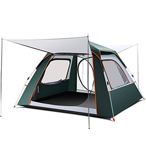 qwert automatic outdoor camping tent, durable, waterproof, large family tent, easy to install and portable tent, can accommodate 3-4 people, suitable for garden fishing-79x79x55 inches Dark green M