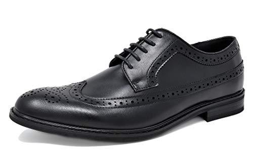 Bruno Marc Men's Prince-10 Black Leather Lined Wing-Tip Dress Oxfords Shoes – 12 M US
