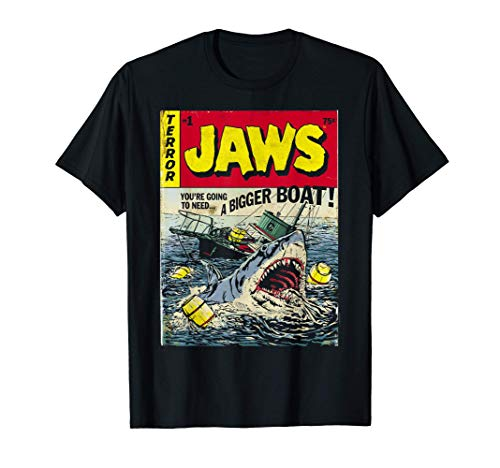 Jaws Comic Book Style Bigger Boat T-shirt for Adults or Kids