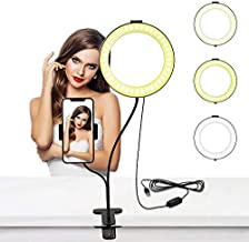 BuFan Selfie Ring Light with Cell Phone Holder, 10 Level Brightness & 3 Light Modes for Live Stream/Makeup, Dimmable LED Camera Lighting Flexible Arms Compatible with iPhone X Max 11 12 8 7 Android
