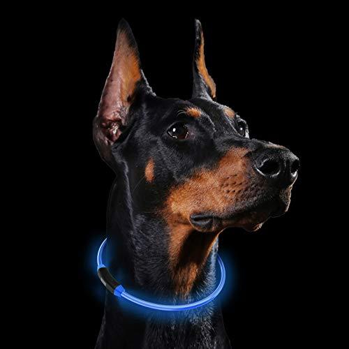 Collares LED para Perros, GeeRic Luminous Dog Collar Safe Dog Collar LED Recargable Ajustable Impermeable USB Luminoso Collar con 3 Modos Luminosos para Mascotas Tamaño 60cm
