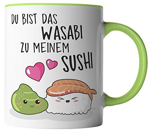 vanVerden Tasse - Du bist das Wasabi zu meinem Sushi - beidseitig Bedruckt - Geschenk Idee Kaffeetassen mit Spruch, Tassenfarbe:Weiß/Grün