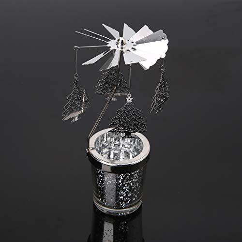 siwetg Giratorio Giratorio Tealight Vela Metal Tea Light Holder Carrusel Decoración del Hogar