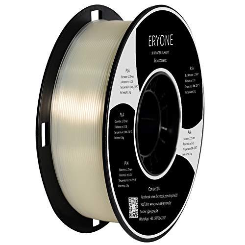 Filamento PLA 1.75mm, Eryone PLA Filamento de PLA para impresión 3D, 1kg 1 Spool, Transparente