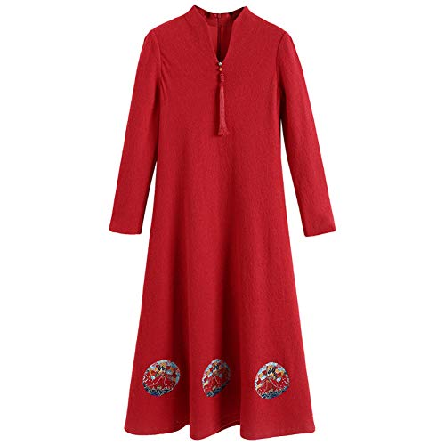 BINGQZ Cocktail Jurken Fluwelen jurk winter vrouwelijke temperament lange rode feestelijke herfst en winter rok